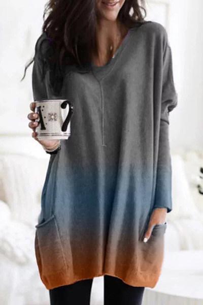 Fashion Gradient V-Neck Loose Dress