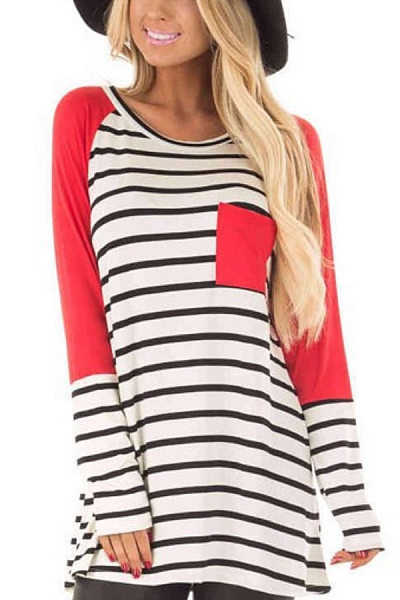 Casual Round Neck Long Sleeve Striped T-Shirt