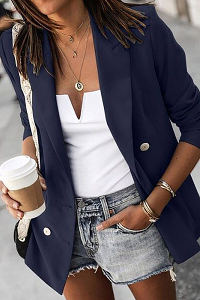 Women's Long Sleeve Button Blazer
