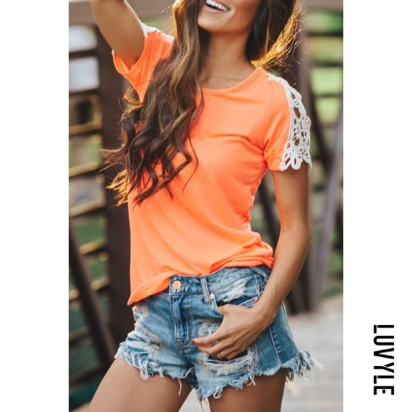 Orange Red Crew Neck Decorative Lace Plain T-Shirts Orange Red Crew Neck Decorative Lace Plain T-Shirts