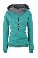 Irregular Collar Printed Casual Sweatshirt