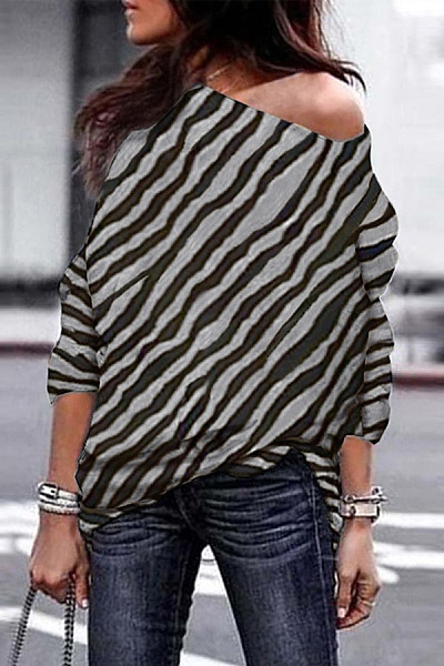 One Shoulder Collar Striped T-shirt