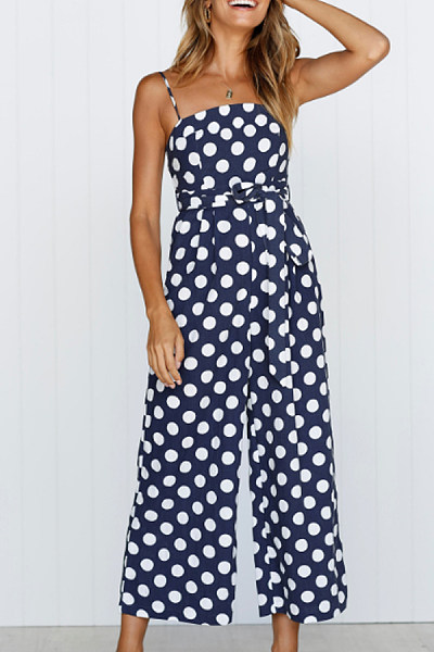 Spaghetti Strap  Belt  Polka Dot  Sleeveless Jumpsuits