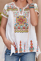 V Neck Embroidery Short Sleeve T-shirt