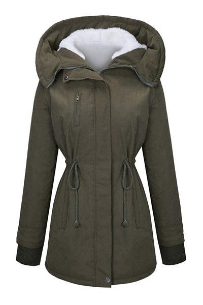Hooded  Drawstring Zips Fleece Lined Coats