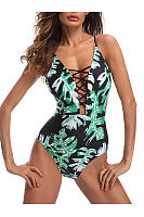 Spaghetti Strap  Printed One Piece