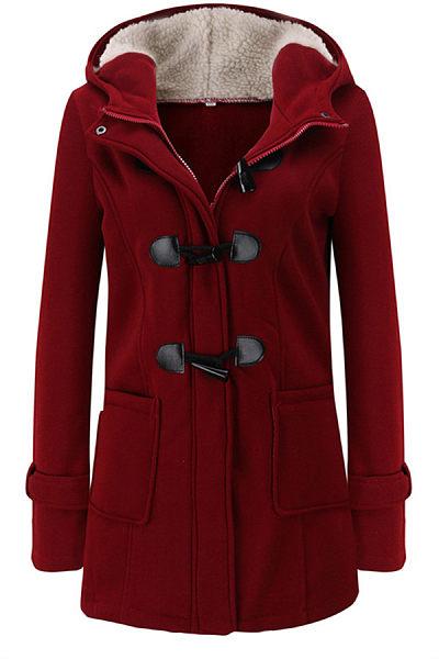 Hooded Long Sleeve Plain Jacket