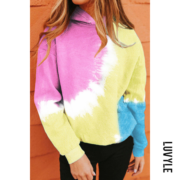 Pink Color Block Tie-dye Hoody Pink Color Block Tie-dye Hoody