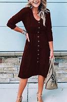 V Neck  Single Breasted  Plain  Long Sleeve Maxi Dresses