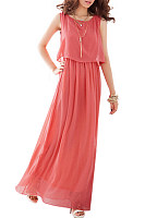 Round Neck  Plain  Sleeveless Maxi Dresses