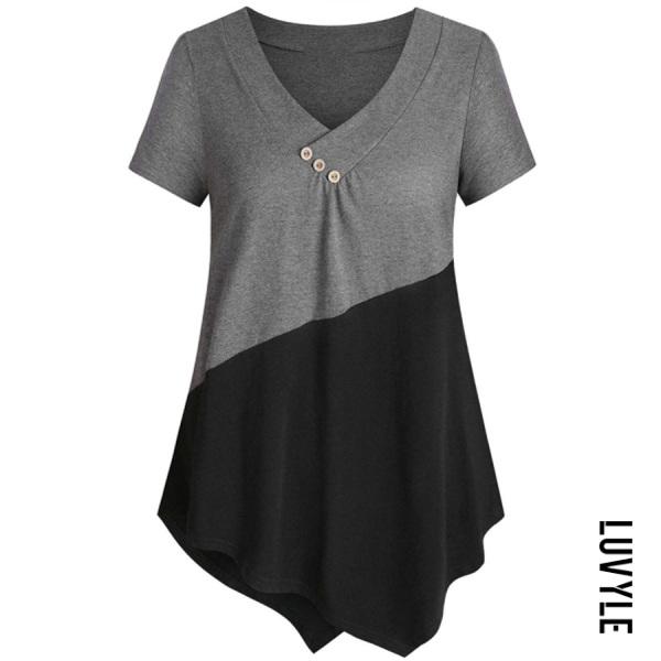 VNeck Color Block Short Sleeve T-shirt