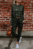 Hooded  Drawstring Slit Pocket  Camouflage Two-Piece Outfits