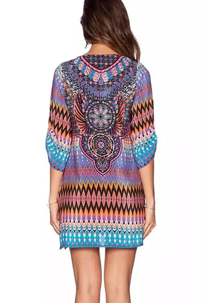 Round Neck  Drawstring  Abstract Print  Lantern Sleeve  Long Sleeve Casual Dresses