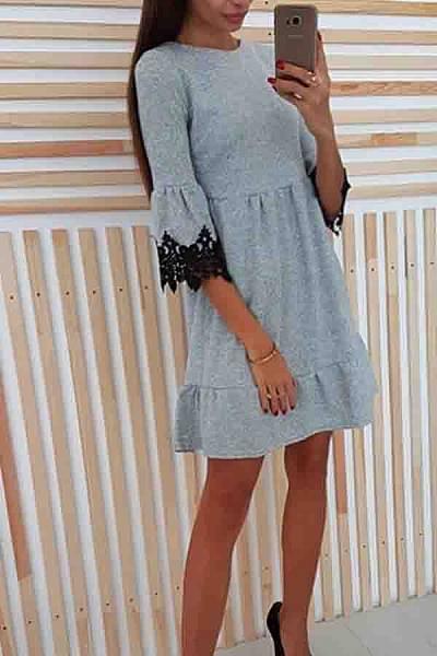 920f7d6db585 Round Neck Decorative Lace Plain Half Sleeve Skater Dresses - Luvyle.com