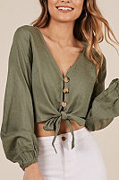 Deep V Neck  Single Breasted  Plain  Blouses