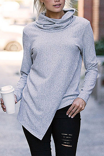 Casual Cowl Neck Pure Colour Long Sleeve Sweatshirt