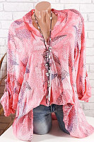 Ladies V Neck Tie Sleeve Printed Blouse
