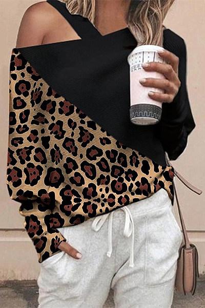 Casual leopard print color stitching diagonal shoulder female t-shirt