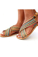 Bohemian Flat Peep Toe Date Travel Flat Sandals