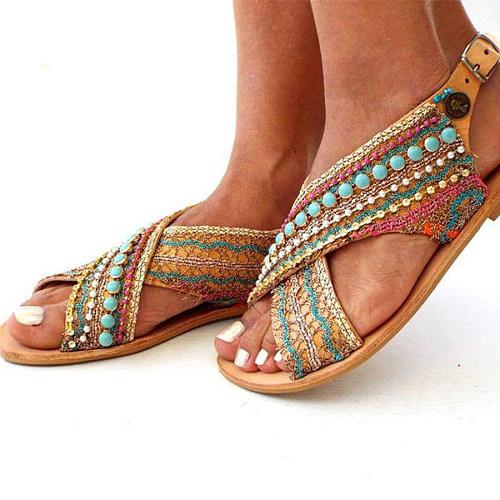 Bohemian Flat Peep Toe Date Travel Flat Sandals