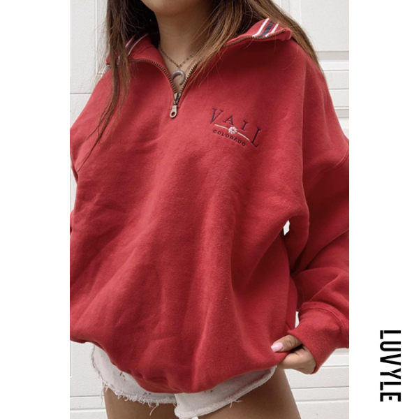 Womens Casual Standing Collar Loose Sweatshirt - from $30.00