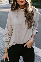 Women's Turtleneck Solid Color Long Sleeve T-Shirt