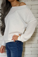 One Shoulder  Plain  Basic Sweaters