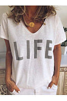 V Neck Letters Printed Basic T-Shirts