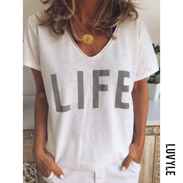 White V Neck Letters Printed Basic T-Shirts White V Neck Letters Printed Basic T-Shirts