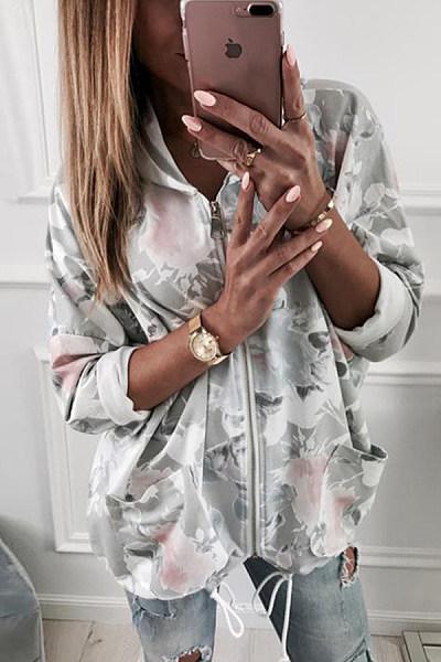 Hooded  Zipper  Printed Outerwear