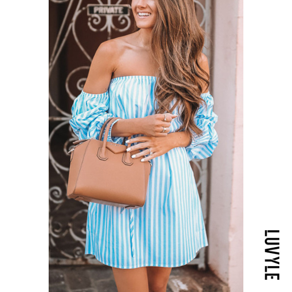 Blue Off Shoulder Belt Striped Long Sleeve Casual Dresses Blue Off Shoulder Belt Striped Long Sleeve Casual Dresses