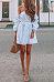 Off Shoulder  Belt  Striped  Long Sleeve Casual Dresses