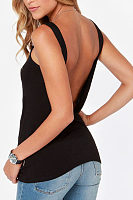 Round Neck  Backless  Plain Camis