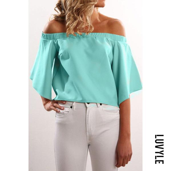 Light Green Off Shoulder Asymmetric Hem Plain T-Shirts Light Green Off Shoulder Asymmetric Hem Plain T-Shirts