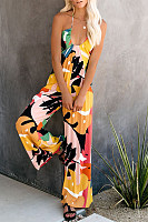 Sexy V Neck Sleeveless Printed Colour Off-Shoulder Jumpsuit