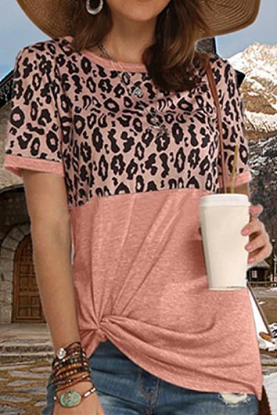 Fashion Leopard Splicing Hem Kink T-Shirt