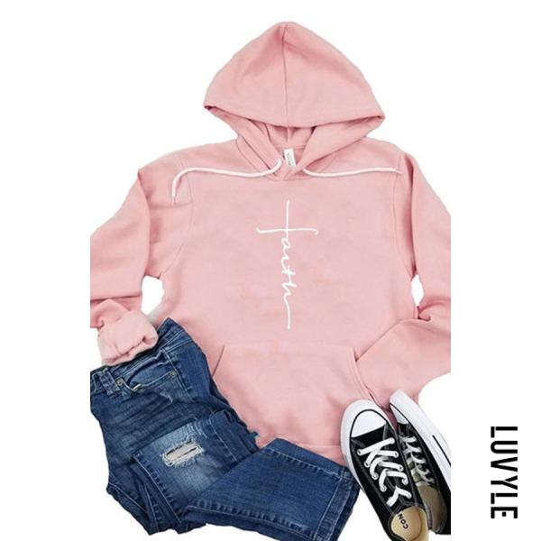 Pink Letter Print Casual Long Sleeve Hoodie Pink Letter Print Casual Long Sleeve Hoodie