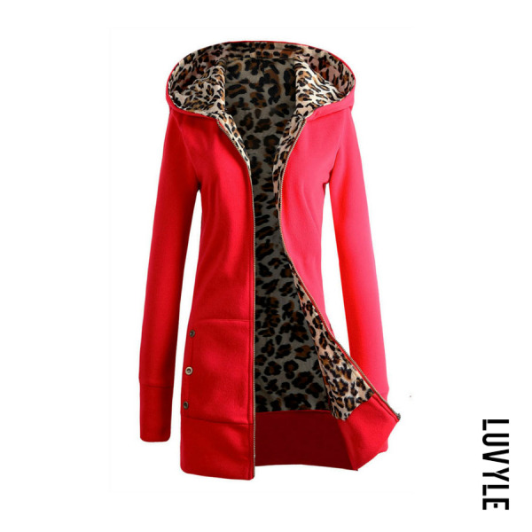 Red Hooded Zipper Leopard Hoodies Red Hooded Zipper Leopard Hoodies