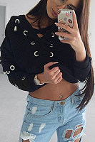 V Neck  Lace Up  Plain  Sweatshirts