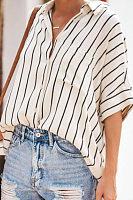 Casual Striped Lapel Long Sleeve Shirt