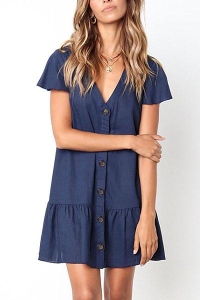 V Neck  Single Breasted  Plain  Short Sleeve Casual Dresses