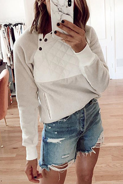 Casual Long Sleeve Pure Colour Splicing Sweatshirts