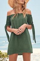 Off Shoulder  Lace Up  Plain Casual Dresses