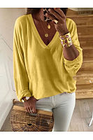 V Neck Loose Fitting Casual T-Shirts