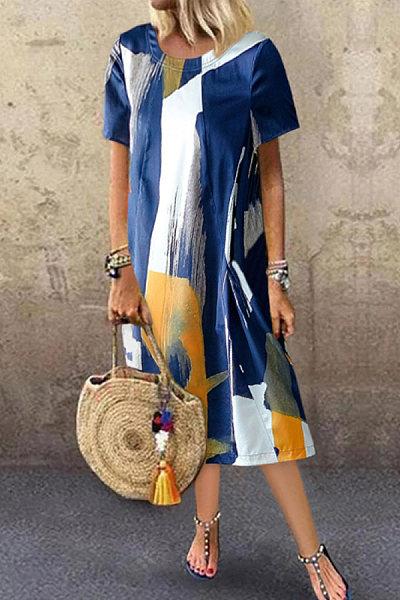 Casual Crew-neck Printed Maxi Dress