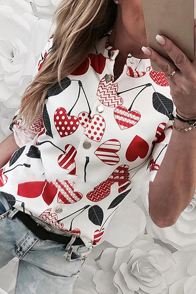 Printed Single Breasted Long Sleeve Blouse