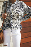 Round Neck Printed Long Sleeve Casual Blouses