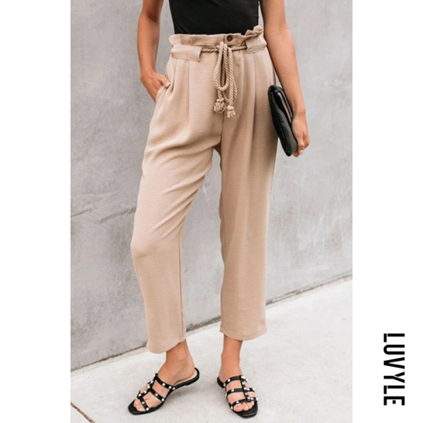 Fashionable wild lace up pleated casual trousers with belt