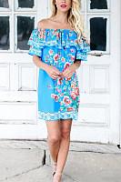 Off Shoulder  Backless  Print Casual Dresses