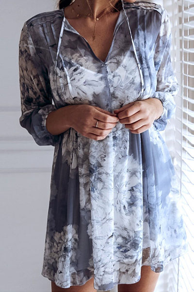 V Neck  Floral Printed  Long Sleeve Casual Dresses